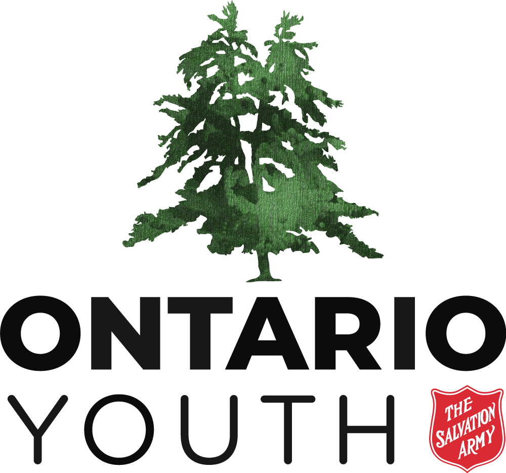 Stacked Ontario Youth Logo- Green tree above Ontario Youth Salvation Army Shield beside Youth